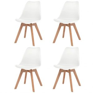 Pack de 4 Sillas de Cuero Artificial Blanco y Madera