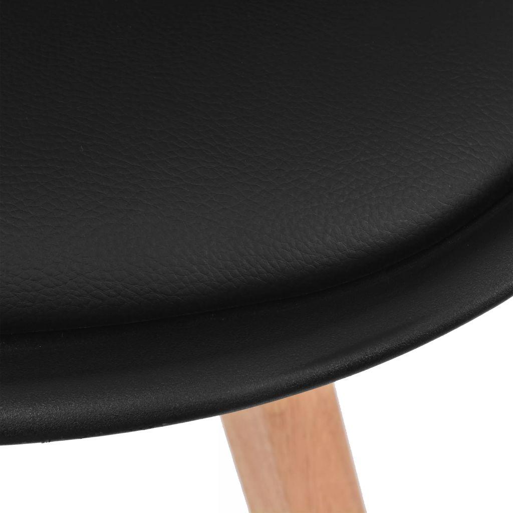 Silla de Cuero Artificial Negro y Madera