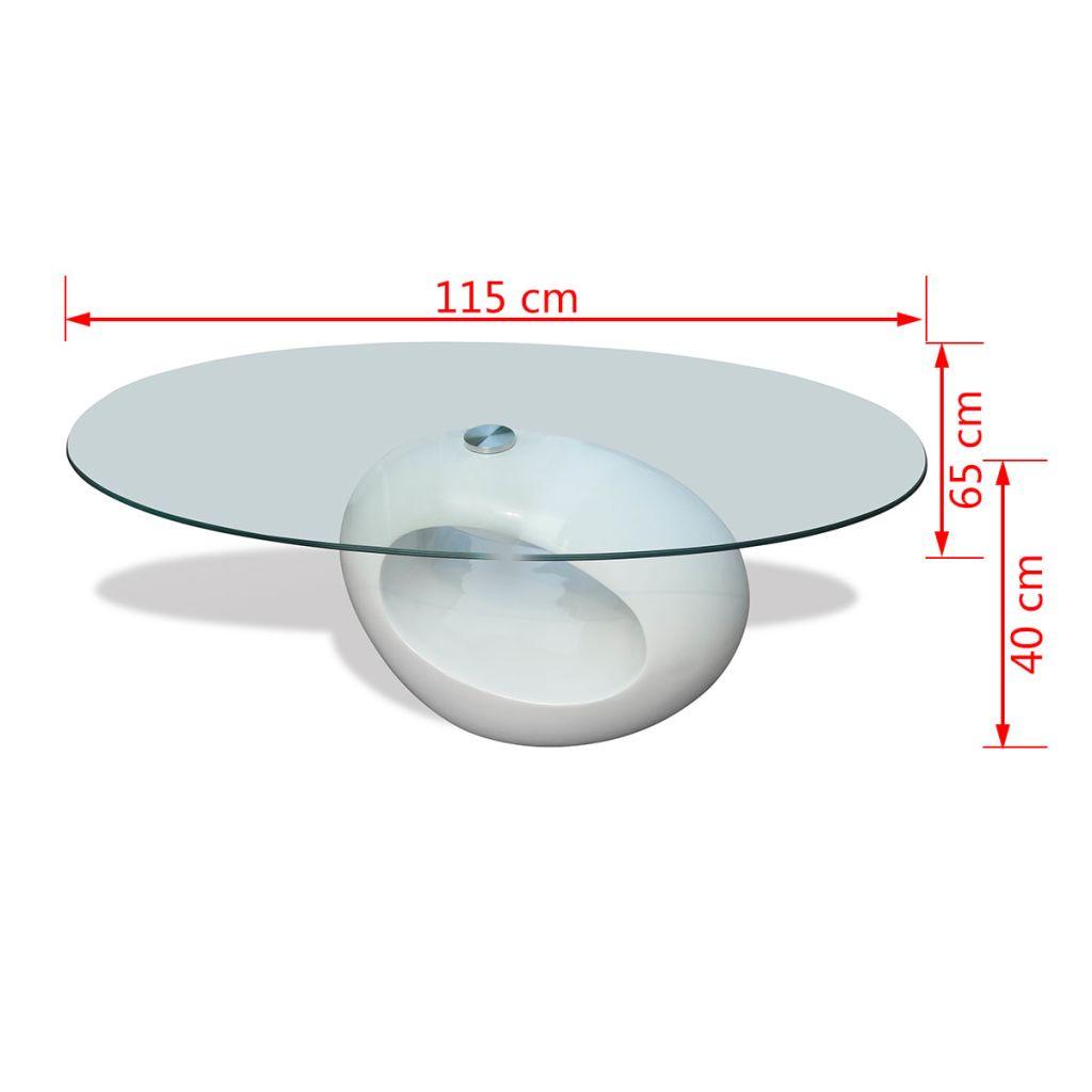 Mesa de Centro Ovalada con Vidrio (Blanca Brillante)