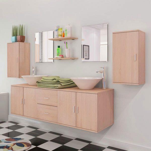Muebles de baño y lavabo 9 piezas Beige   Compra tus Chollos