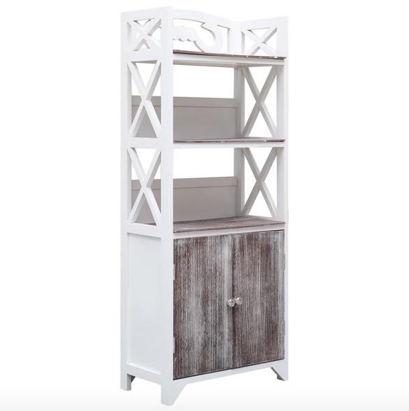 Mueble cuarto baño blanco marrón 46x24x116 cm