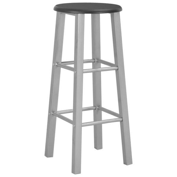 Mesa y sillas altas de cocina 3 piezas madera y acero negro